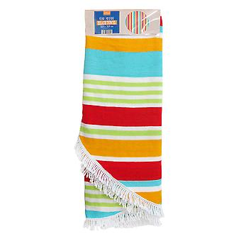Country Club Round Stripe Beach Towel, Orange and Green