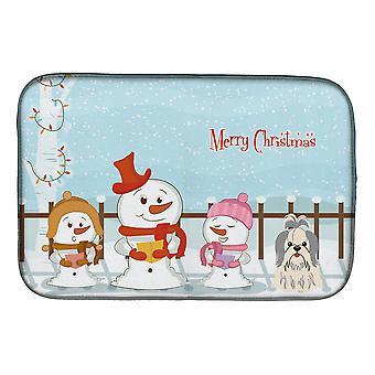 Merry Christmas sanger Shih Tzu sølv hvit parabolen tørking matte