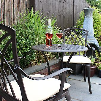 Charles Bentley Furniture 3 pezzi cast in alluminio Bistro set tavolo & 2 poltrone