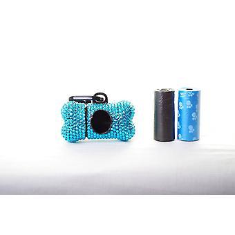 蓝色水晶莱茵石骨形废袋分配器