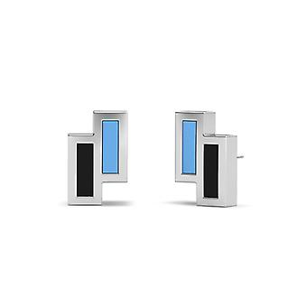 Johns Hopkins University Sterling Silber asymmetrische Emaille Ohrstecker In blau und schwarz