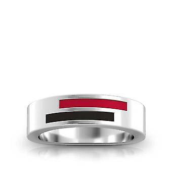 University Of Louisville Sterling Silver Asymmetric Enamel Ring In Red and Black