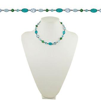 Wieczne kolekcji Martyniki Aqua niebieski i zielony kryształ brąz 18-calowe zroszony naszyjnik