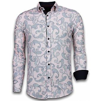 E Shirts - Slim Fit - Baroque Pattern - Pink