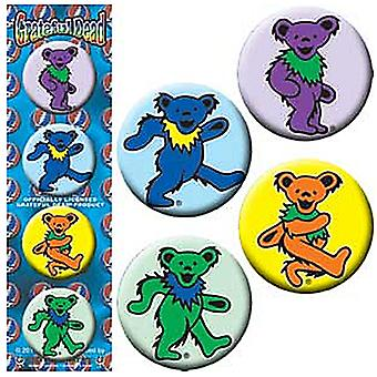 Taknemmelig døde dansende bjørne sæt med 4 runde Pin Badges