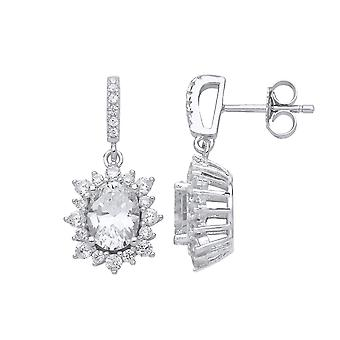 Jewelco London Ladies Rhodium Plated Sterling Silver oval Cubic Zirconia Sunshine Cluster Solitaire Drop Earrings