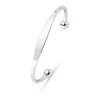 Jewelco London Kids Rhodium Plated Sterling Silver ID Torque Identity Bangle Bracelet