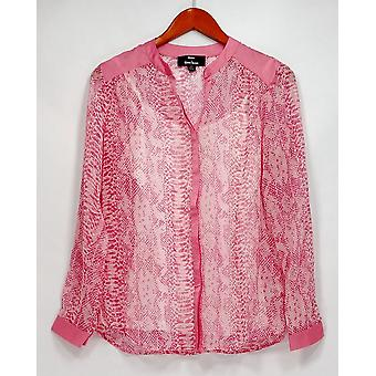 Dennis Basso Top Python Print Long Sleeve Sheer Button Front Pink A263334