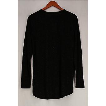 Luxsport Top Hi-Low Hem Long Sleeve Knit Top Black NEW 511-734