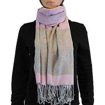 Lenço/xaile/xaile 100% pashmina luz rosa multi cor