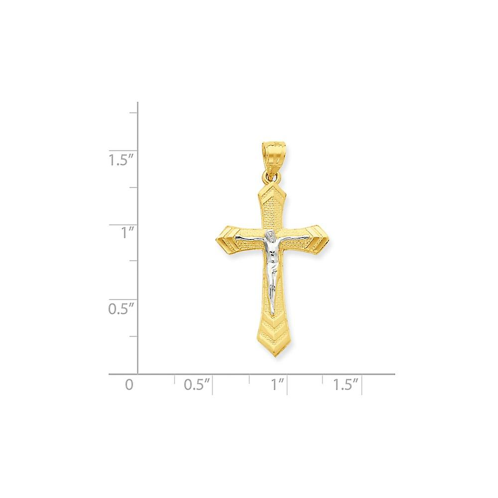 10k Yellow Gold Textured Polished and Rhodium Passion Crucifix Pendant Necklace Jewelry Gifts for Women