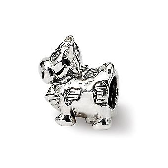 925 Sterling Silver Polished Antique finish Reflections Kids Cow With Bell Bead Charm
