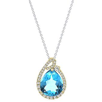 Dazzlingrock Collection 18K 12X10 MM Pear Blue Topaz & Round Diamond Ladies Circle Pendant, Yellow Gold