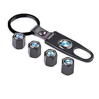 Set of 4 Black Anti-Theft Car Tyre Air Dust Valve Stem Cap With Keyring Locking Tool For BMW