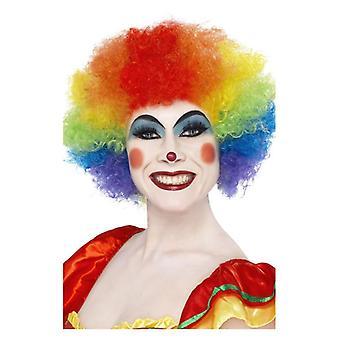 Voksne Rainbow Crazy Clown paryk Fancy kjole tilbehør