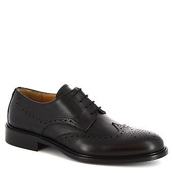 Leonardo Schuhe Men's handgemachte Oxford Brogues Schuhe in schwarzem Kalbsleder