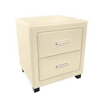 Dorset 2 Drawer Bedside Cabinet - Faux Leather - Cream