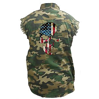 Men's Camo Sleeveless Denim Shirt USA Flag Skull Dark