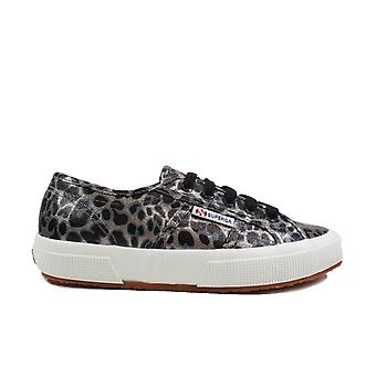 Superga Fantasy cotu svart/grå Leopard Print canvas Womens spetsar upp sneakers