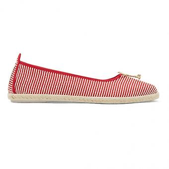 Flossy Sabroso Dames Canvas Slip On Ballerina Chaussures Rouge