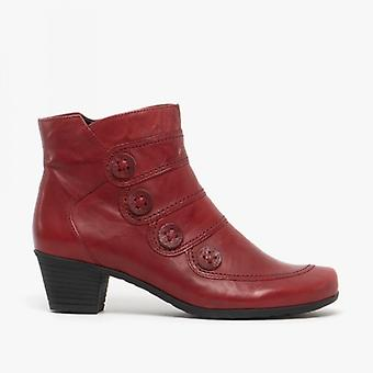 Gabor Georgie Ladies Leather Ankle Boots Dark Red