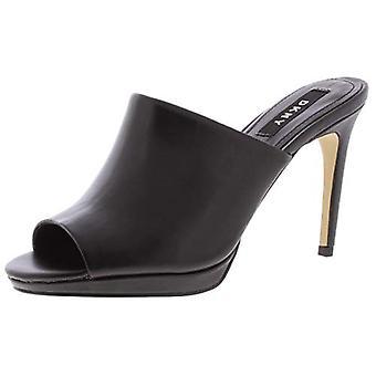 DKNY Womens Val Leather Slip On Mule Sandals Black 6 Medium (B,M)