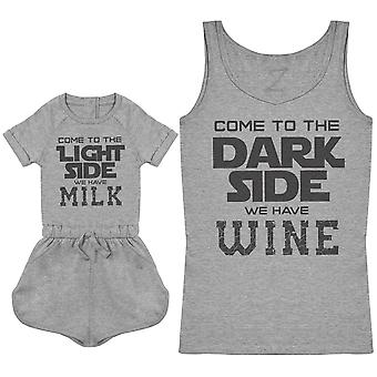 Milk On The Light Side - Wine On The Dark Side - Baby Playsuit & Women's Tank Top