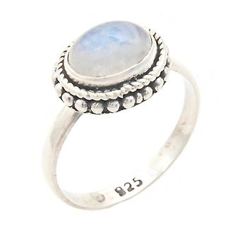 Moonstone Ring 925 Silver Sterling Silver Silver Women's Ring White (IRM 135-04)