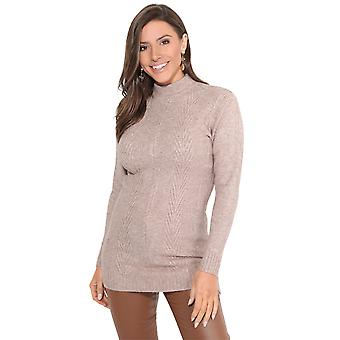 KRISP Frauen Damen High Neck Long Jumper soft knit Sweater Top Pullover Winter Casual