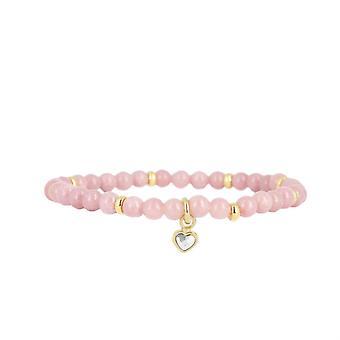 Les austauschbare Armband A59657 - Perle Herz Beige rosa Frau