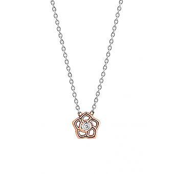 Ti sento 3932ZR colar-dia da flor de prata e ouro rosa e óxido de zircônio mulheres