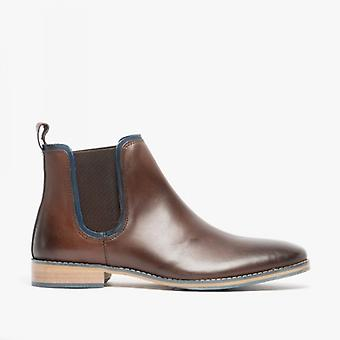 Front Stanford Mens Leather Chelsea Boots Brown