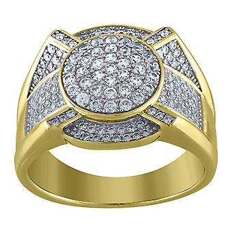925 Sterling Silver Men Two tone CZ Cubic Zirconia Simulated Diamond Round Head 10.5mm Cluster Band Ring Jewelry Gifts f
