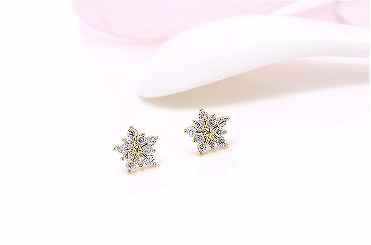 Gold Sterling Snowflakes Studs