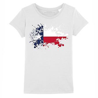 STUFF4 Girl's Round Neck T-Shirt/USA State/Texas/Texan Flag Splat/White