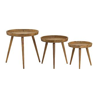 Home Works Loft Collection Round Wooden Table (Set Of 3)