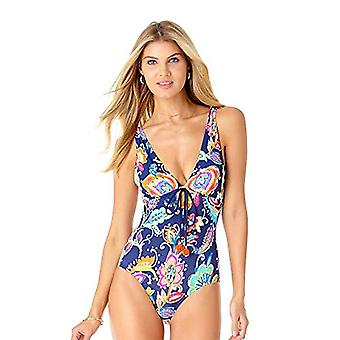 Anne Cole Women's Deep Plunge One Piece Swimsuit, Paisley pom Navy, 6