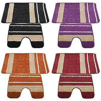 2 pièces ensemble Mat tapis de bain/tapis & piédestal entrelacé