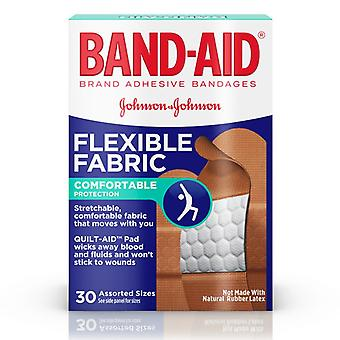 Band-aid flexible fabric bandages, quilt-aid, assorted sizes, 30 ea