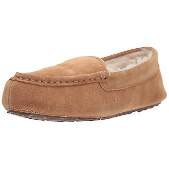 Amazon Essentials Women's Leather Moccasin Slipper, Chestnut, 10 M US
