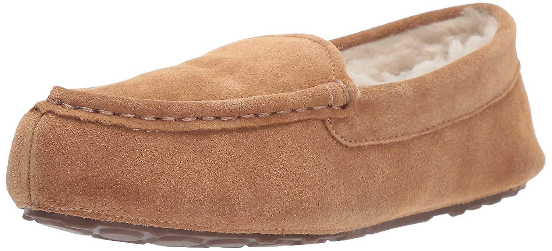 Essentials Women's Leather Moccasin Slipper, Chestnut, 10 M US Zrvvo