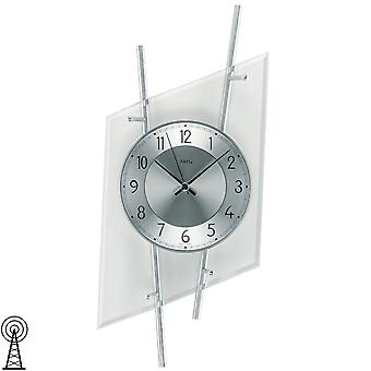AMS 5882 wall clock radio radio controlled wall clock analog silver modern metal with glass