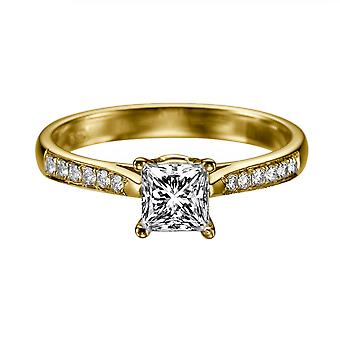 1.32 Carat D SI2 Diamond Engagement Ring 14K Yellow Gold Solitaire w Accents Channel Set Cathedral