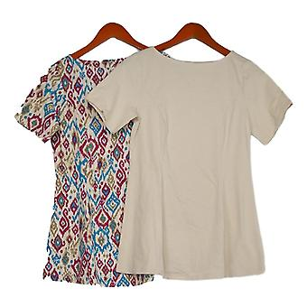 Denim & Co. Women's Top Set of Two Fit & Flare Knit Tunics White A366230