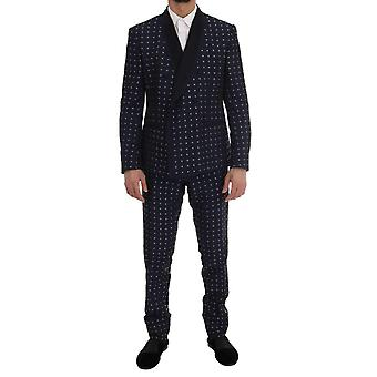 Dolce & Gabbana Blue Silk Double Breasted 3 Piece Suit -- KOS1398576
