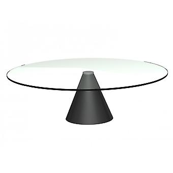 Gillmore Large Round Clear Glass Coffee Table With Conical Black Base