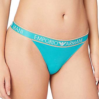 Emporio Armani Visibility Iconic Logoband Stretch Cotton Thong, Water Green, X-Small