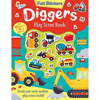 Felt Stickers Diggers Play Scene Book by Kit Elliot
