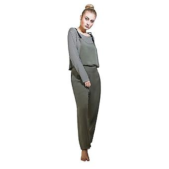 Jumpsuit with striped t-shirt - khaki overall playsuit one size