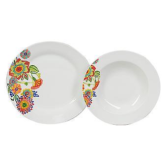 Piatti Jaipur Multicolore in Porcellana, Ogni Piatto Fondo L21,5xP21,5 cm, Ogni Piatto Piano L24xP24 cm